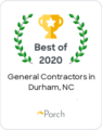 Recipients of the Best of 2020 General Contractors in Durham, NC